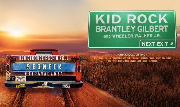 Kid Rock, Brantley Gilbert & Wheeler Walker Jr. at Saratoga Performing Arts Center